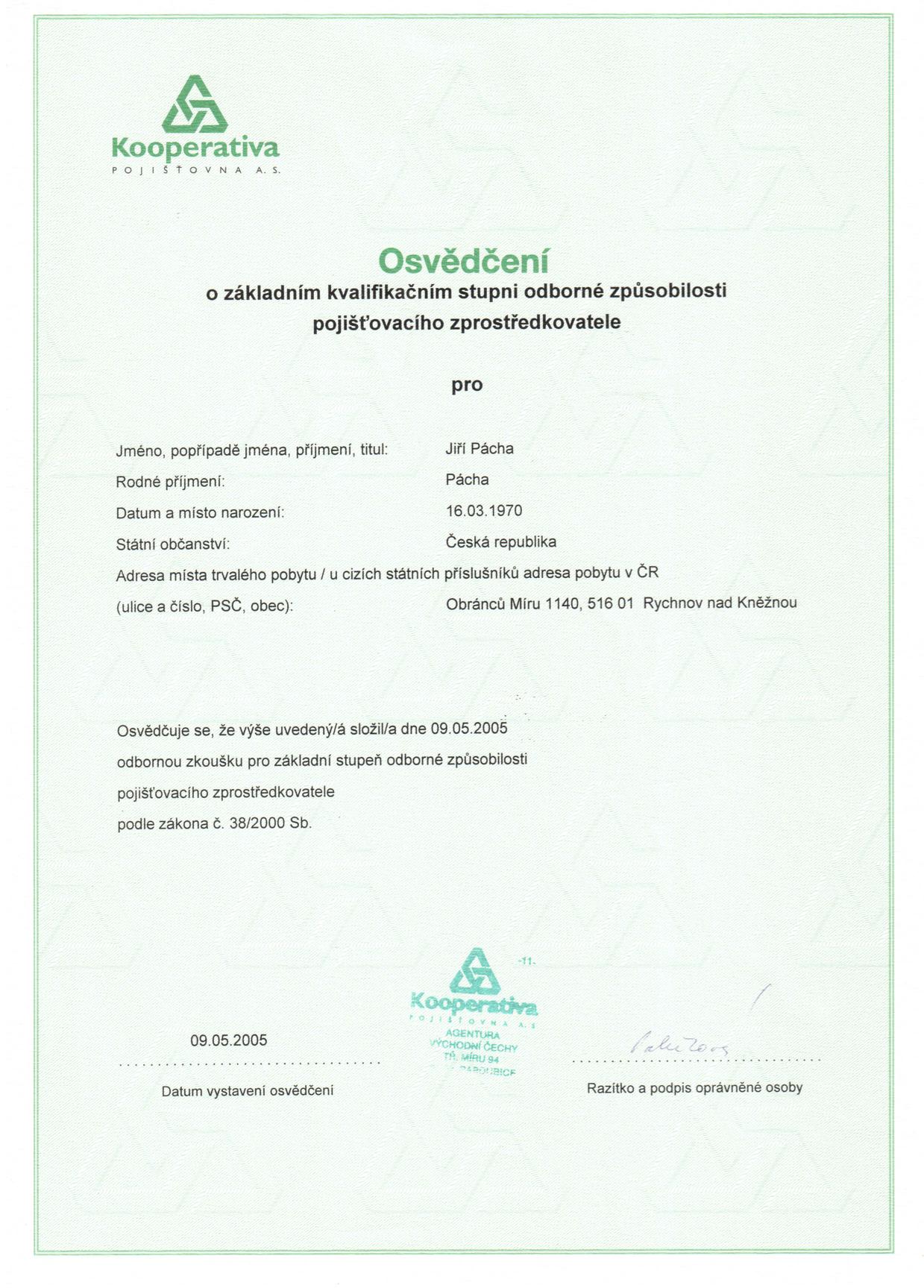 osvedceni o základním kvalifikačním stupni odborné způsobilosti 5.2005